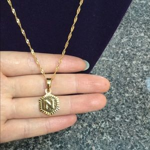 """Jewelry - New 18K gold """" N """" letter necklace"""